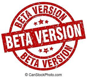 beta version round red grunge stamp