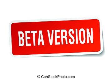 beta version square sticker on white