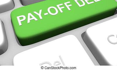 betaal van, schuld, toetsenbord, klee, animatie