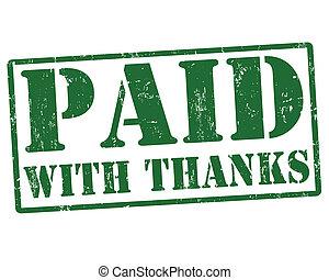betaald, met, dank, postzegel