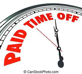 betaald, tijd weg, klok, woorden, werknemer, medisch,...