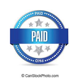 betaald, zeehondje, postzegel, illustratie, ontwerp