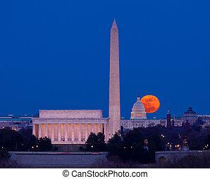 betakarít, hold emelkedik, felett, kongresszus székháza washingtonban, alatt, washington dc dc
