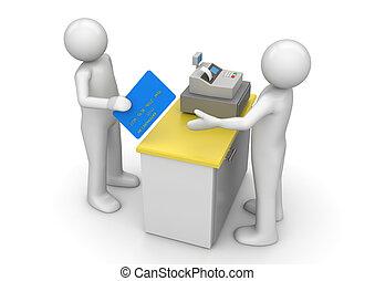 betale, af, kontokort, på, indkassere, skrivebord, -,...