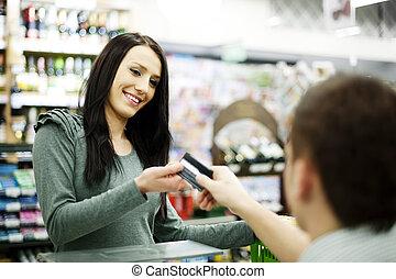betale, kontokort, by, indkøb