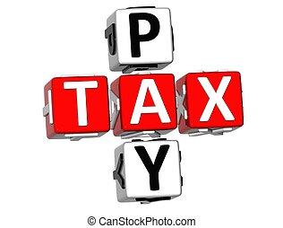 betalen, 3d, belasting, kruiswoordraadsel