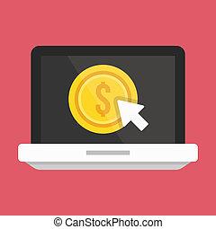 betalen, draagbare computer, per, vector, klikken, pictogram