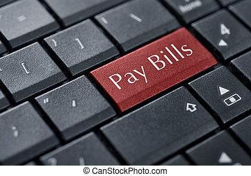 betalen, knoop, rekeningen