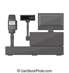 betaling, display, registreren, contant, terminal.