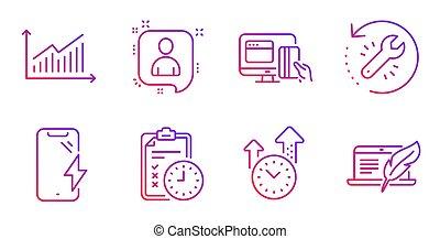 betaling, herstel, iconen, vector, set., online, werktuig,...