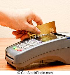 betaling, machine, en, kredietkaart