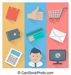 betaling, online boodschapend doend, methodes, iconen
