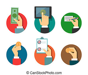 betalingen, illustratie, handen