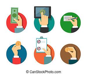 betalinger, illustration, hos, hænder