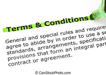 betalingsvilkår, og, betingelserne, highlighted, ind, grønne