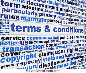 betalingsvilkår, og, betingelserne, plakat, konstruktion