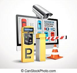 betalning, parkering, -, ingång, station