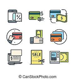 betalning, val, ikon, sätta, färg