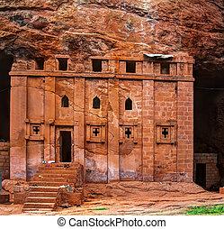 Bete Abba Libanos rock-hewn church, Lalibela Ethiopia - Bete...