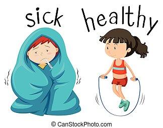 beteg, ellentétes, wordcard, egészséges, szó