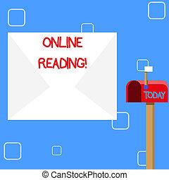 betekenis, concept, groot, formaat, proces, tekst, digitale , enveloppe, op, brievenbus, reading., online, leeg, kleine, vlag, witte , af het leiden, open, handschrift, rood, signalling.