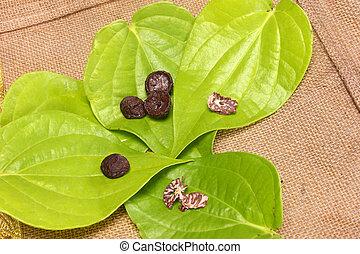 Betel Leaf with Betel Nut.