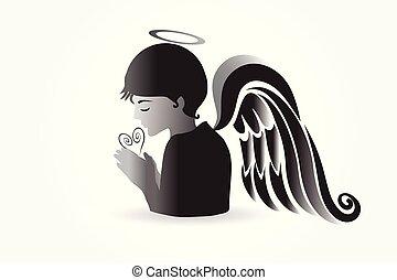 beten, logo, vektor, engelchen