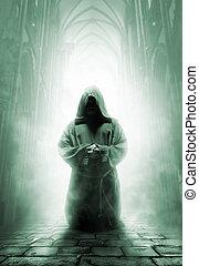 beten, mittelalterlich, mönch, in, dunkel, tempel, korridor