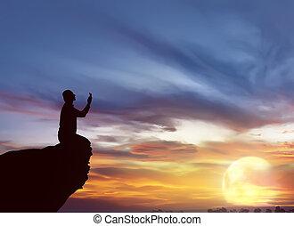 beten, silhouette, mann