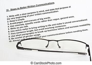 beter, communicatie, geschreven, stappen, tien