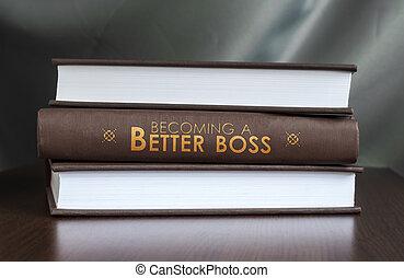 beter, gepast, boek, concept., boss.