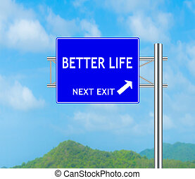 beter, leven, concept, wegaanduiding