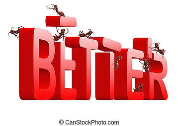 beter, verbeteren, best, rood