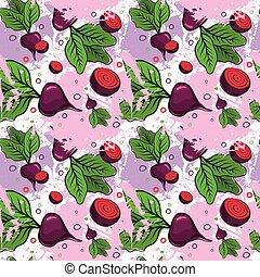beterrabas, padrão, legumes, ornamento, seamless, fundo, raiz, vermelho