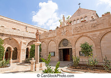 bethlehem., 도시, palestin., 출생, 교회