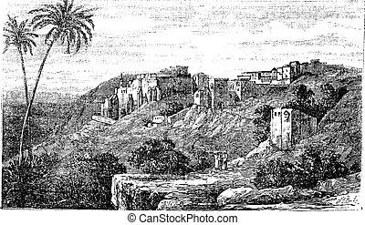 Bethlehem, city, Palestine, Israel, old engraved illustration of the city, Bethlehem, Palestine, Israel.