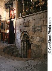 bethlehem, entrée, nativité, grotte