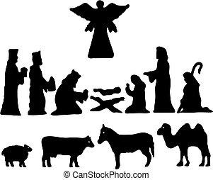 bethlehem., silhuet, stjerne, nativity