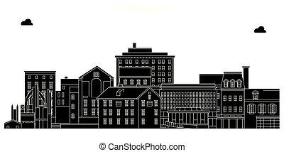 Bethlehem, United States, vector skyline, travel illustration, landmarks, sights.