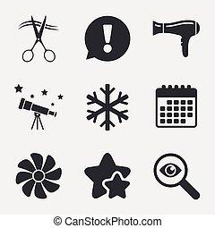 betingning, hotell, luft, hairdryer., tjänsten, icon.