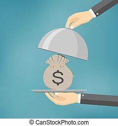 betjene, penge, plade., offer, forretningsmand