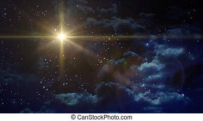 betlemme, stella, croce, giallo, pianeta