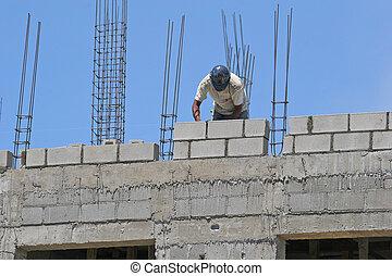 beton, arbeiter, block