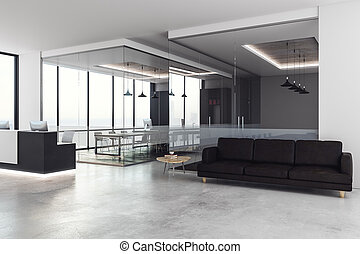beton, büro- innere, mit, festempfang