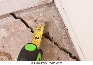 beton, barst, stichting
