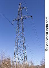 beton, elektrisch, stange, mit, drähte, gegen, der, himmelsgewölbe