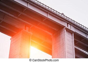 beton, emelkedett autóút, felüljáró