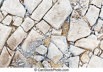 beton, gebarsten, vloer