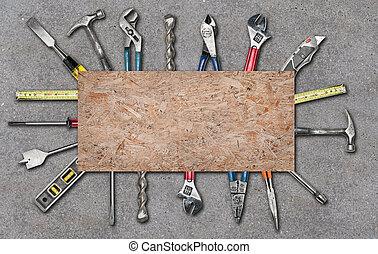 beton, gebruikt, gevarieerd, gereedschap, achtergrond