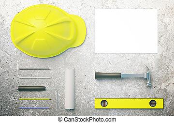 beton, gereedschap, desktop